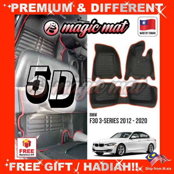 [FREE Gift] BMW F30 3-Series 2012 - 2020 (5 Seater) MAGIC MAT 5D OEM PU Leather Floor Mat Anti-Slip Easy Clean Carpet