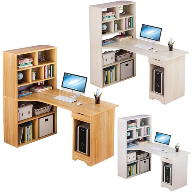 Home Office Desk Table With Sturdy Book Shelf 3 Tier Wood