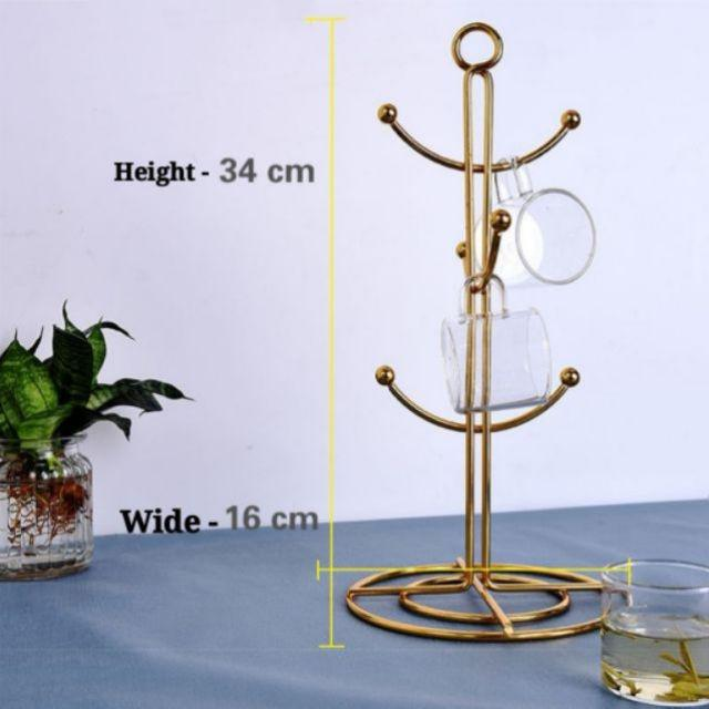 [ READY STOCK ]  Nordic Creative Water Cup Holder Wrought Iron Cup Hanging Mug Rack Cawan Steel Storage