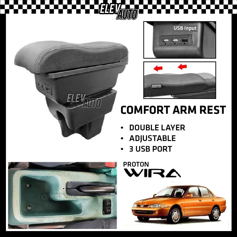 Proton Wira Premium Leather Arm Rest ArmRest Double Layer Adjustable (3 USB)