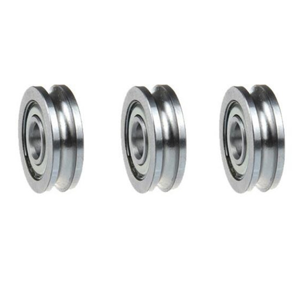 5Pcs Sealed Guide Wire Track Wheels Roller U Groove Pulley Rail Ball Bearing