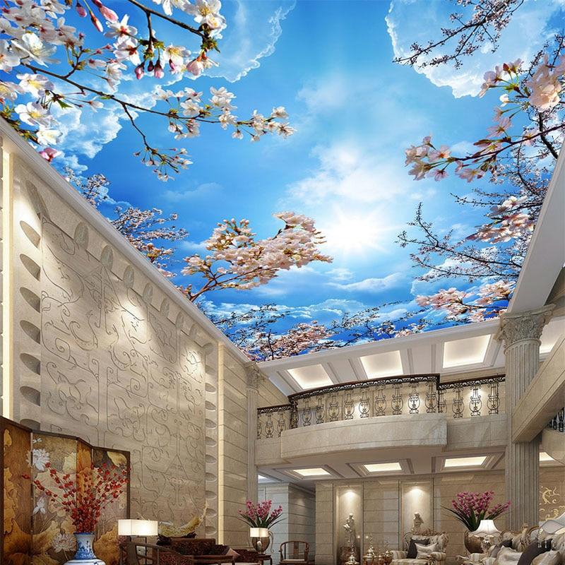 Blue Sky White Clouds Cherry Blossoms Photo Wallpaper 3d Ceiling