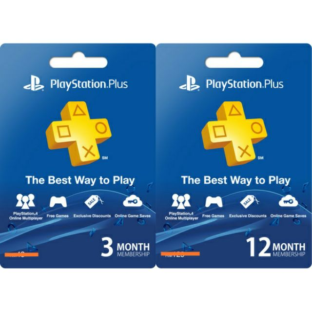 PlayStation Plus PSN PS4 Topup Membership 3 months and 12 months