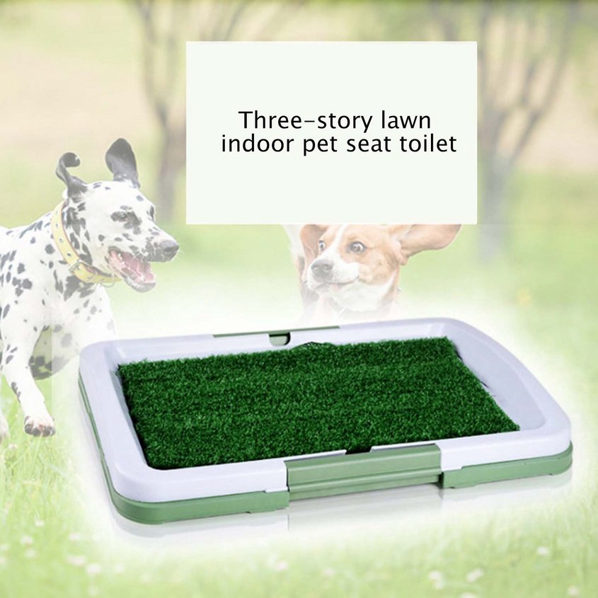 ☼3 Layers Large Dog Pet Potty Training Pee Pad Mat Puppy Tray Grass Toilet