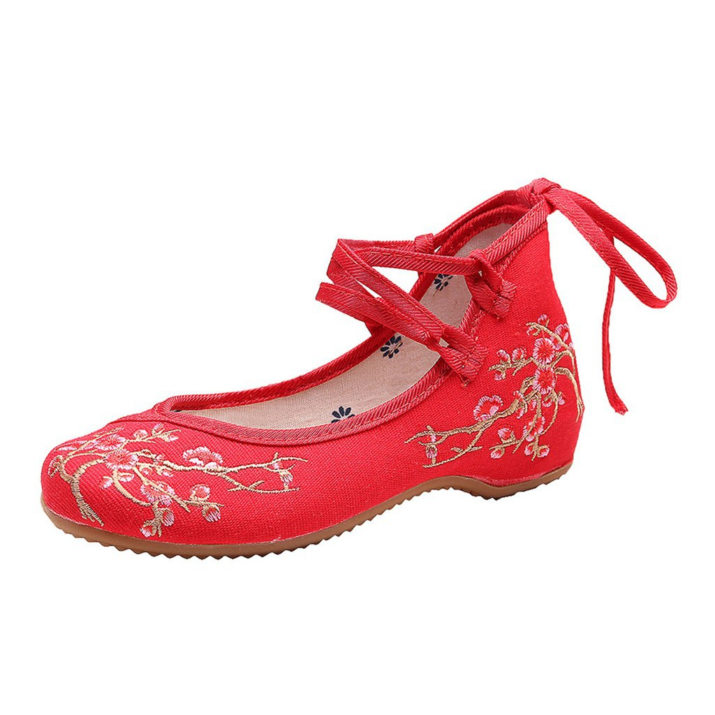 Peize Womens Spring Summer Canvas National Wind Plum National Wind Ladies Embroidered Shoes