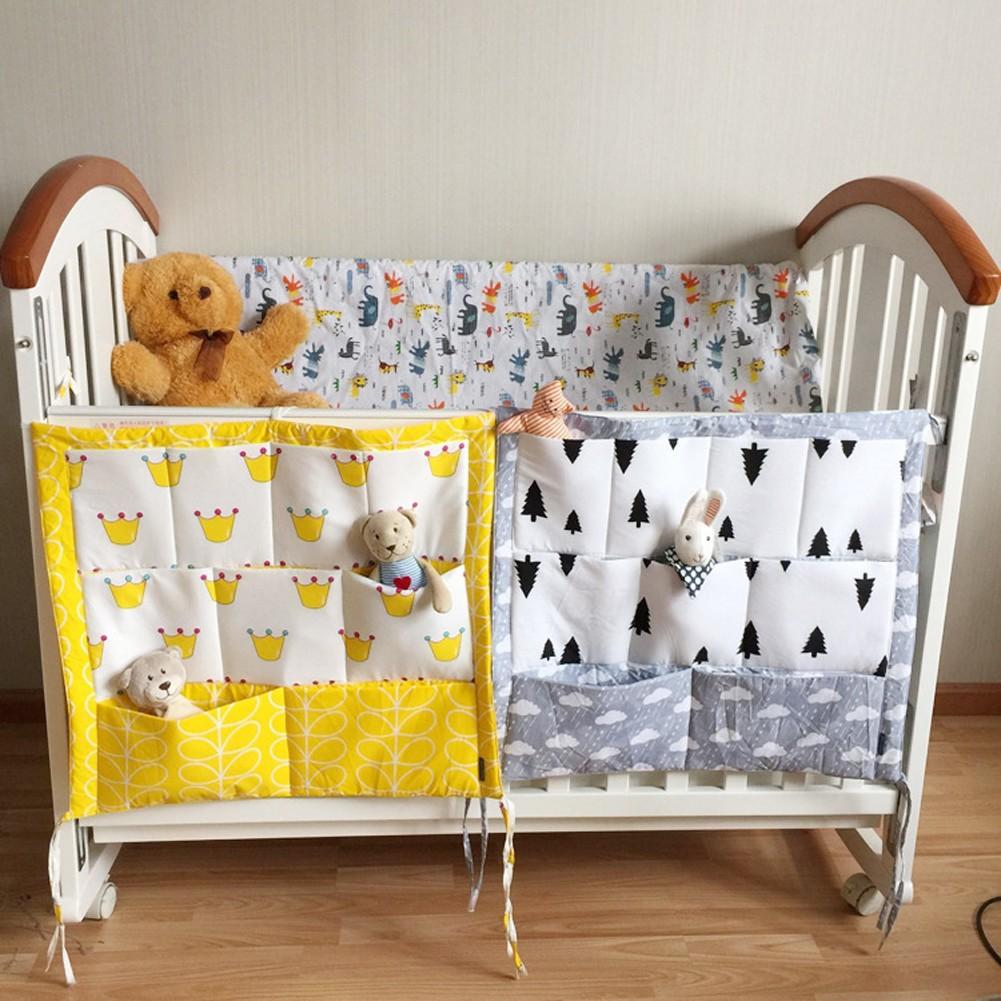 Baby Cot Bed Hanging Storage Bag Crib Organizer Toy Diaper Pocket for Crib YW