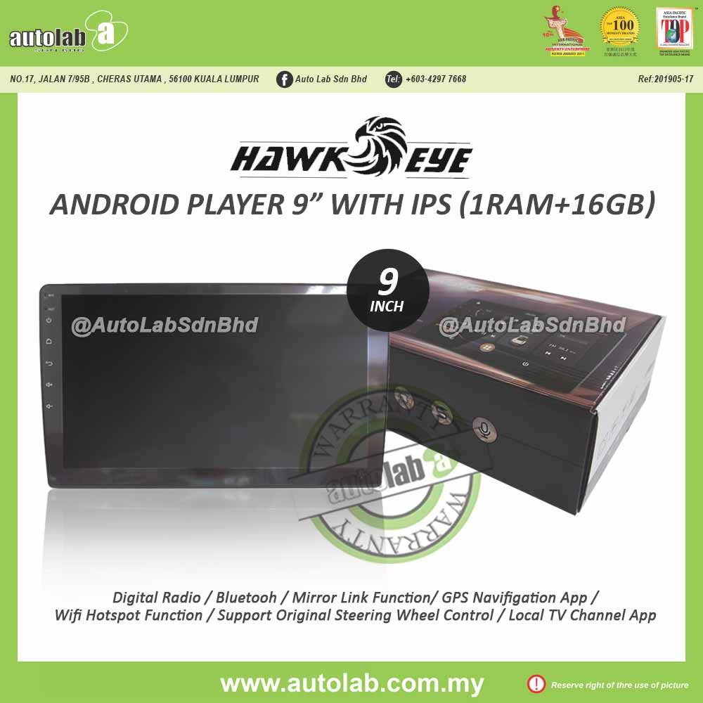 """HawkEye (1RAM+16GB) Android Player 9""""/10"""" with IPS"""