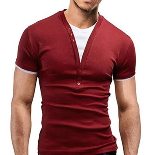 CASUAL ROUND COLOR SHORT SLEEVE COLOR BLOCK T-SHIRT FOR MEN (WINE RED)