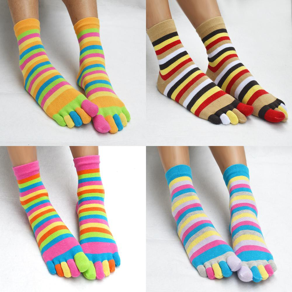 Women/'s 5 Finger Toe Socks Ladies/' Cotton Rainbow Striped Five Toesocks Warm