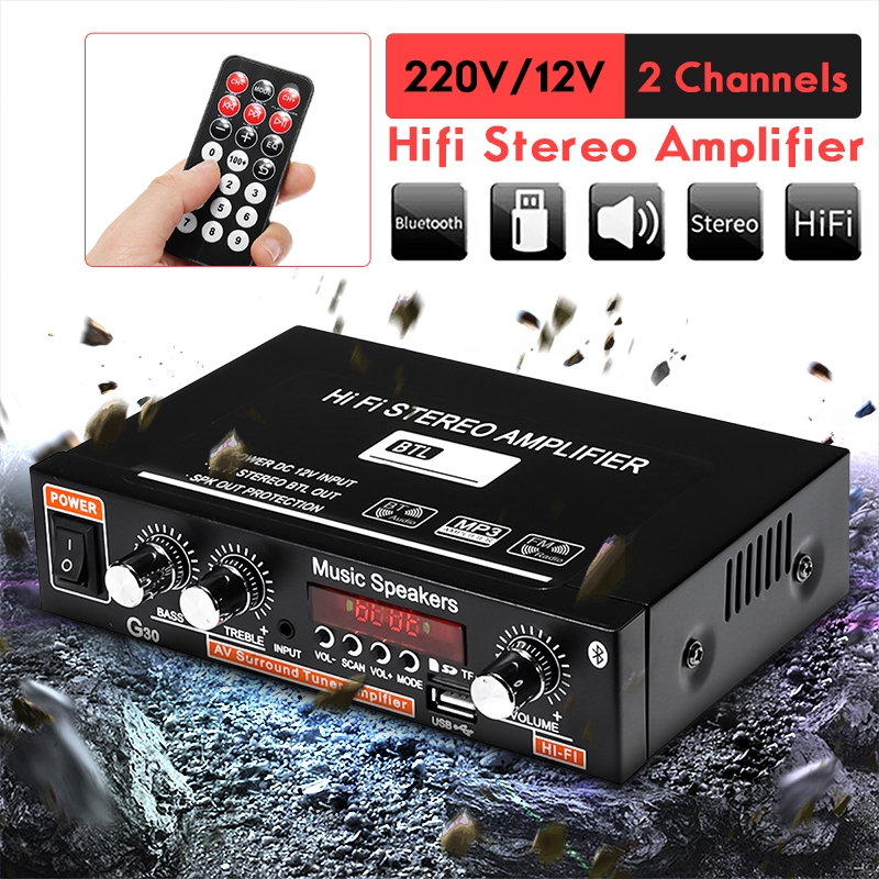 12/220V Home Stereo Power Home Theater Amplifier Audio FM Radio Car  Amplifier