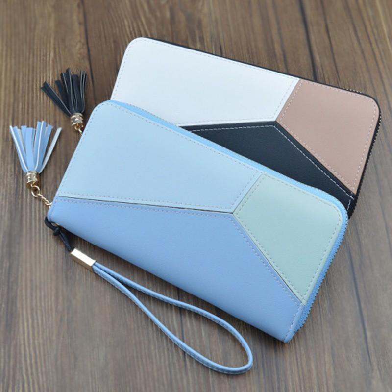 Splicing color matching zipper clutch Daydreaming