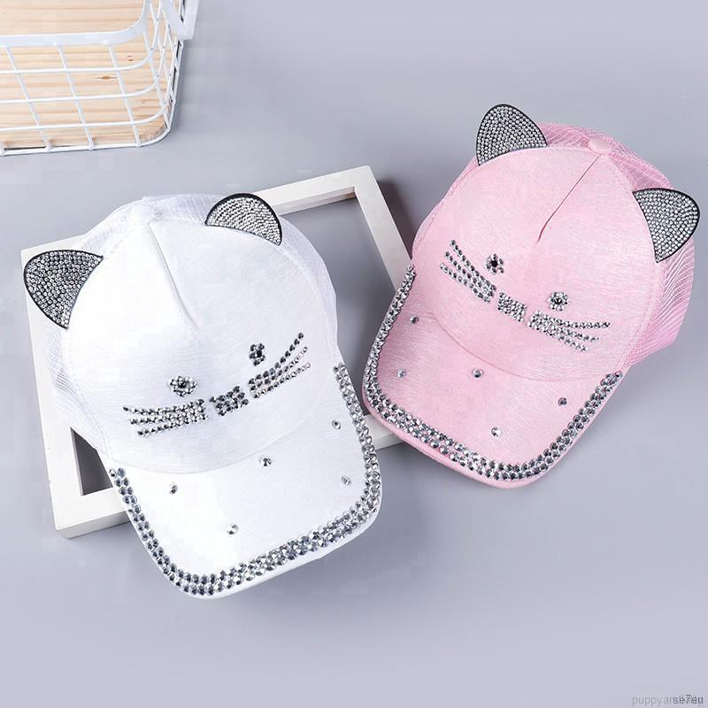 30c473f54 💕Se7en Cat ears hat summer baby girls cute cartoon cap baby ...