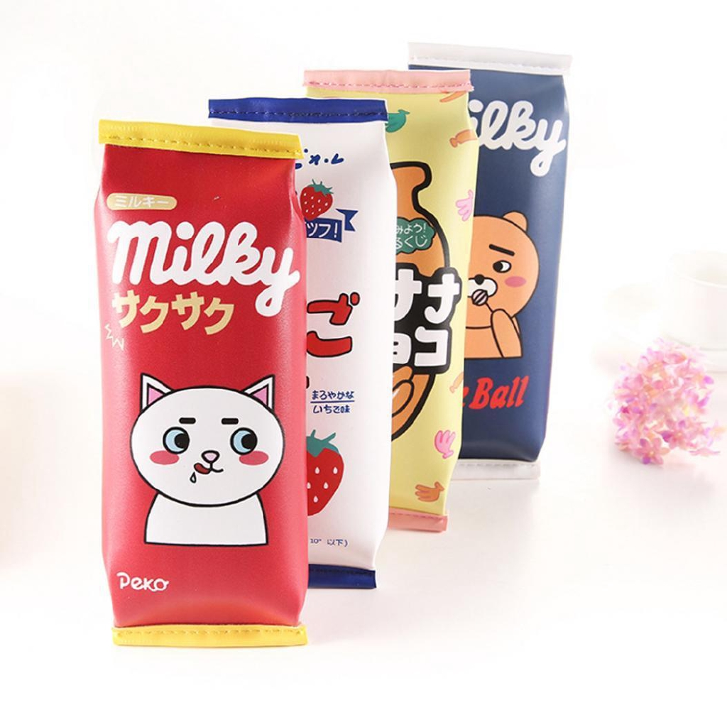 Creative Faux Leather Stationery Pen Bag Cute Milk Pencil Case Student Gift