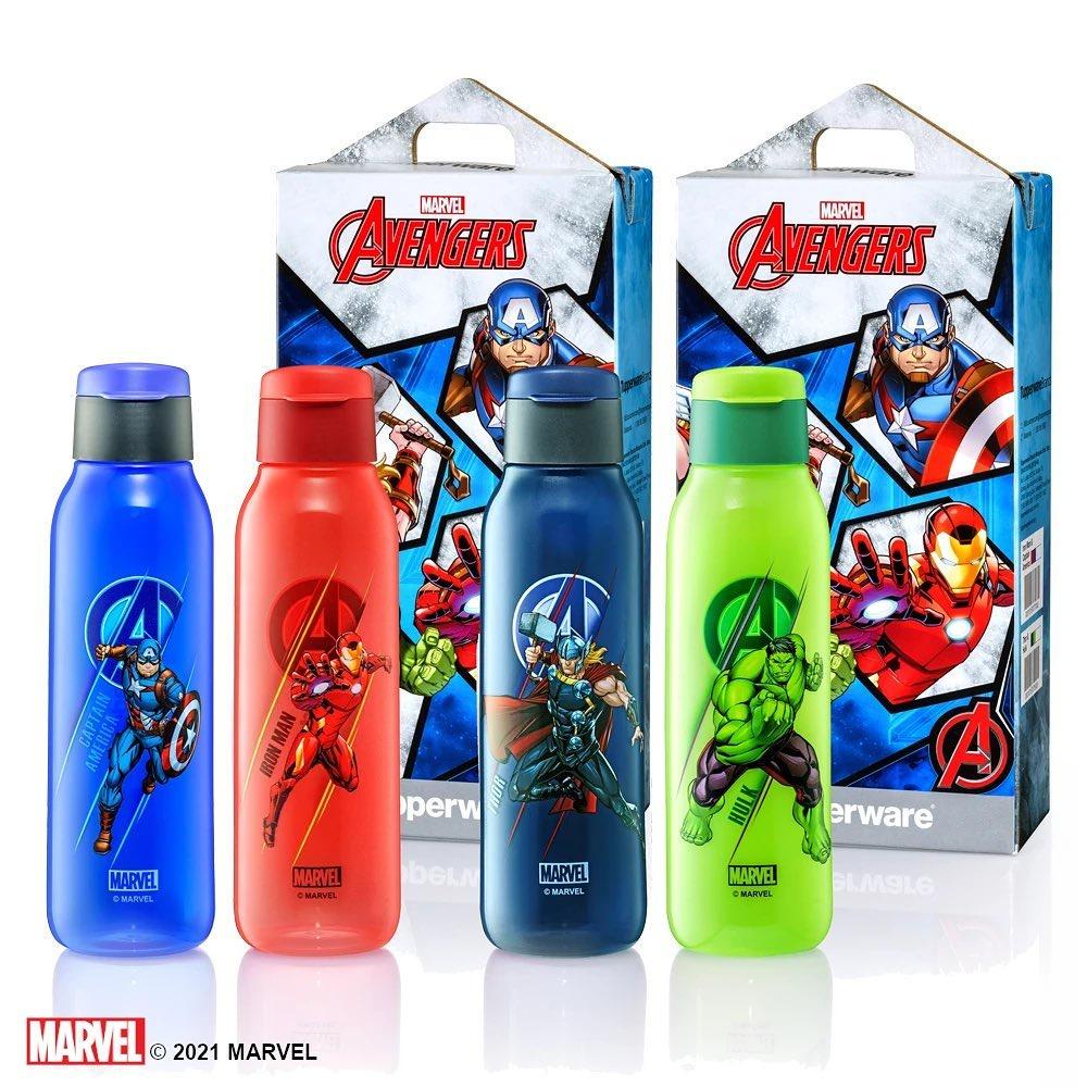 (10% Cash back + Voucher) Tupperware 750ml Flip Top Cover Eco Bottles Avengers (Iron Man/ Captain America/ Thor & Hulk)