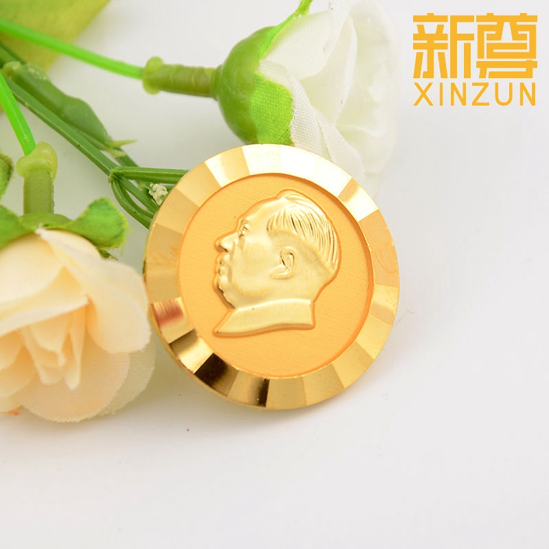 ▣Chairman Mao Badge Brass 24K Gold-plated boutique Zedong Standard Edition  full