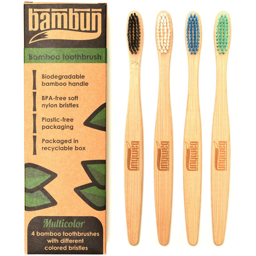 Bambun Bamboo Toothbrush –  Box of 4 Colours