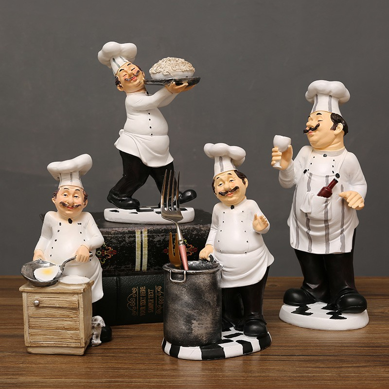 French Chef Figurine Kitchen Ornaments Resin Cook Statue Shopee Malaysia