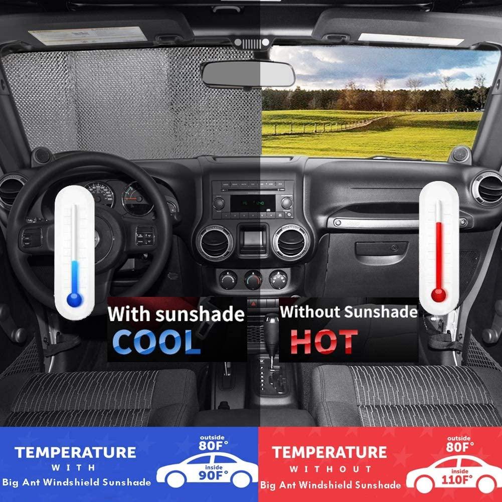 55 x 27.5 Black Big Ant Windshield Sun Shade UV Rays Sun Visor Shade,Auto Front Windshield Sunshade Car Folded Sun Shield Shade,Keeps Vehicle Cool