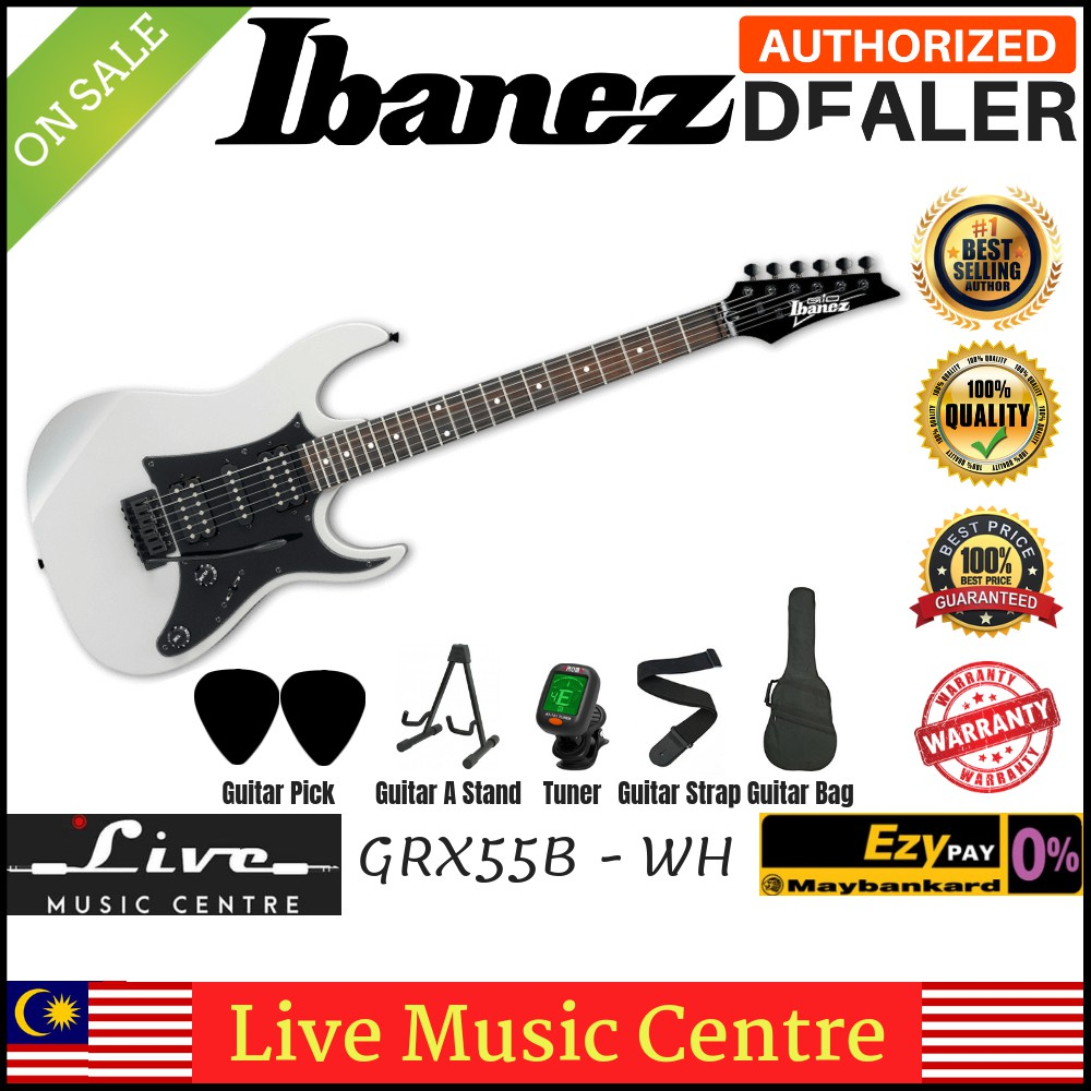 Ibanez Gio GRX55B White Solid Body Electric Guitar (GRX55B-WH)