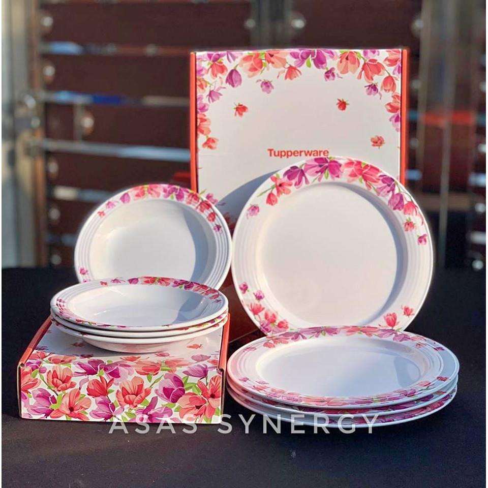Tupperware Garden Bloom Melamine Plates - Set Pinggan Raya + FREE GIFT