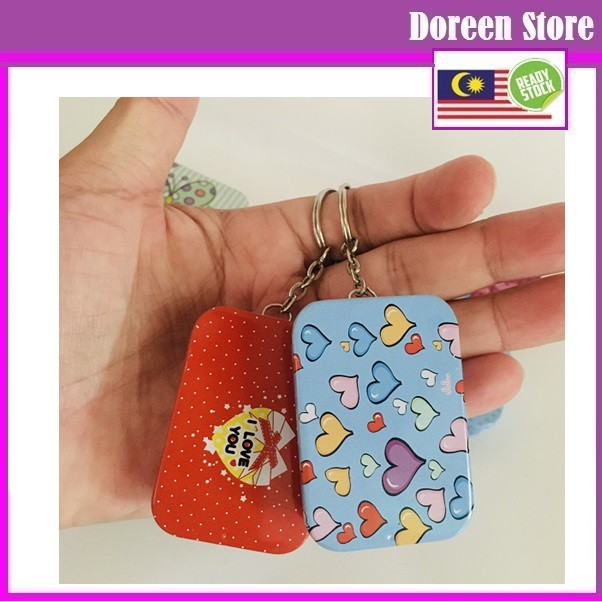 Souvenir Metal Box Keychain Butterfly, Rainbow, Love Design