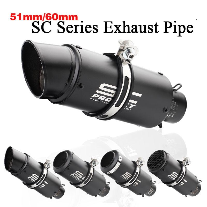 Inlet 51mm 61mm Motorcycle Exhaust Pipe Muffler SC Exhaust Mufflers