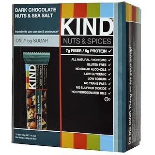 KIND Bars, Nuts & Spices, Dark Chocolate Nuts & Sea Salt, 12 Bars, 1 4 oz  (40 g