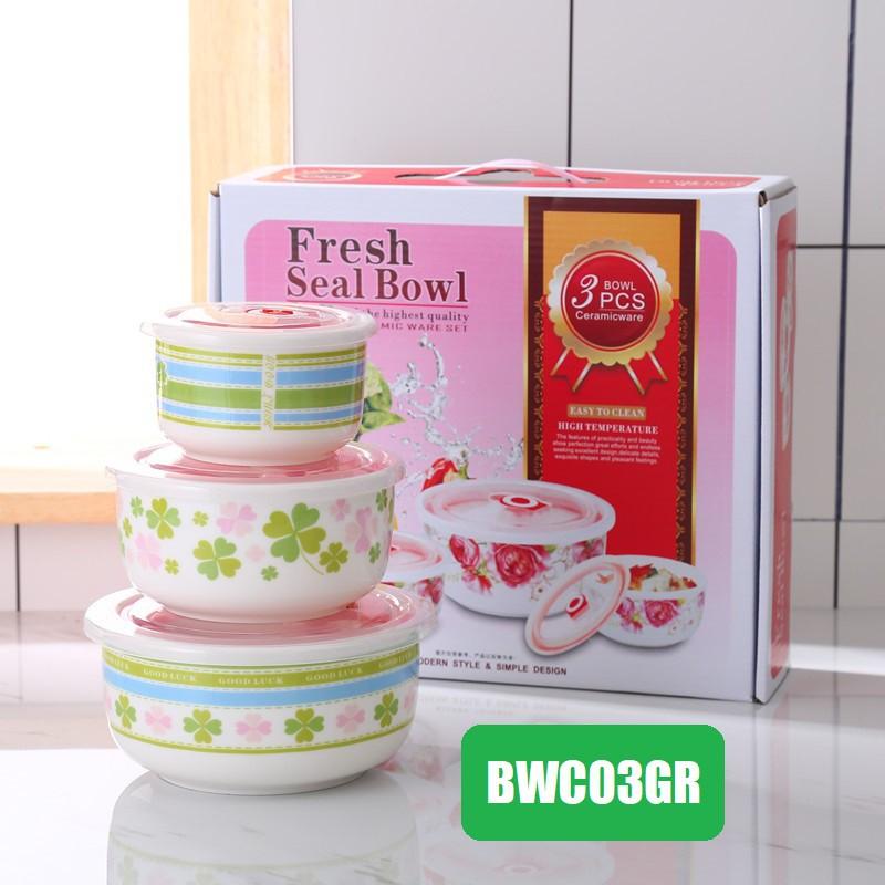 [ READY STOCK ]  Three pcs Circle Sealing Bento Cover Set Tableware Lunch Ceramic Bowl Plate Kitchen Mangkuk Jualan Murah