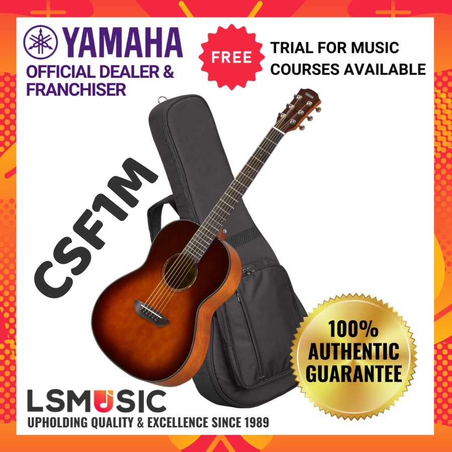 Yamaha CSF1M 40 Size Solid Sitka Spruce Top  Acoustic Guitar With Pickup Vintage Natural/Tobacco Brown Sunburst