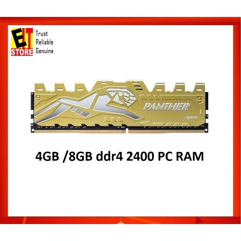 21838829 APACER PANTHER 4GB / 8GB DDR4-2400 GAMING PC RAM - SILVER GOLD