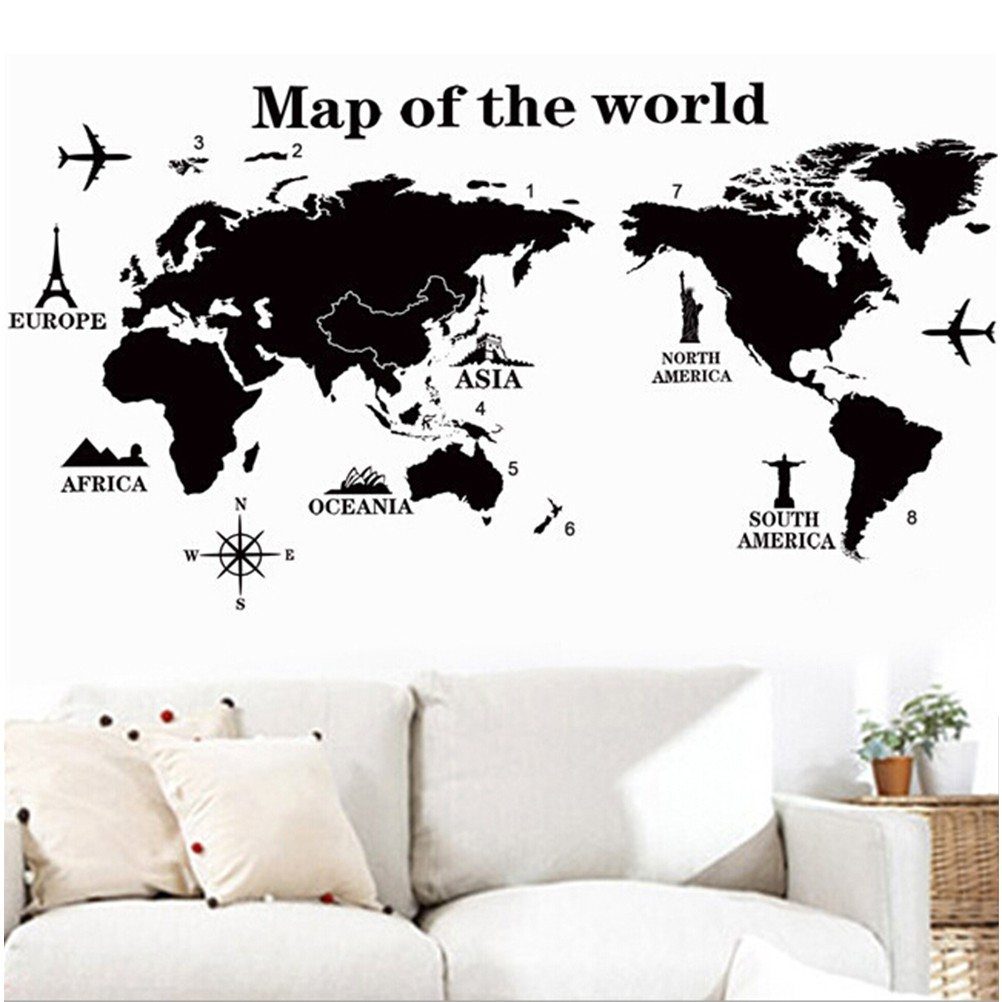 Wall Sticker World Map.World Map Wall Sticker Room Decor Home Removable Decal Shopee Malaysia