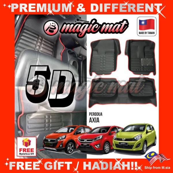 [FREE GIFT Gift] PERODUA AXIA (5 Seater) MAGIC MAT 5D OEM PU Leather Floor Mat Anti-Slip Easy Clean Carpet