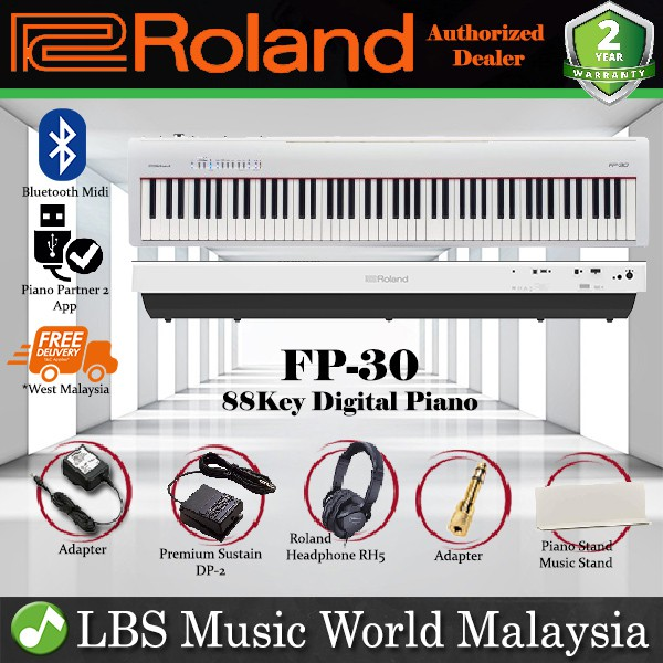 Roland Fp 30 Digital Piano White Portable Package Electric Keyboard Fp30 Shopee Malaysia