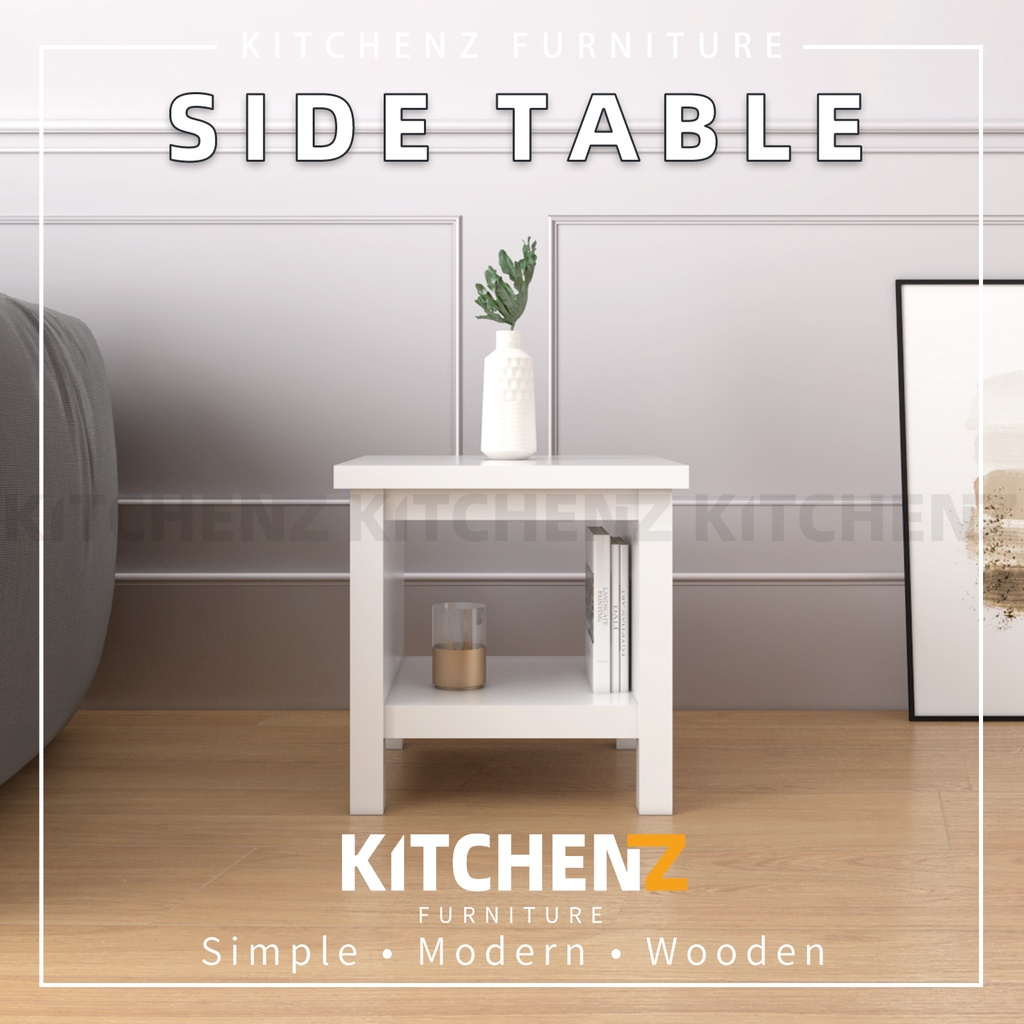 Kitchen Z 1.5FT Paisley Series Side Table Modernist Design Solid Board with Plastic Wood Leg / Meja Sisi - HMZ-FN-ST-P4848-WT