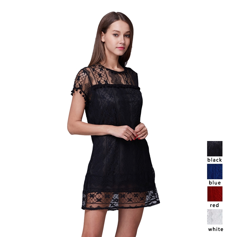 ❤Womens Lace Mini Dresses Ladies Summer Casual Sleeveless Plus Size Solid Tassel Crewneck Dress