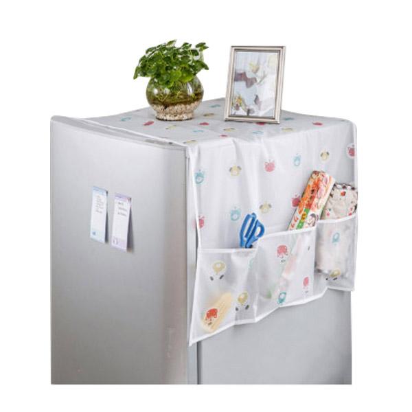 ✿ พร้อมส่ง ✿ ผ้าคลุมตู้เย็นสีขาวขุ่น ลายน่ารัก ขนาด130*55cm