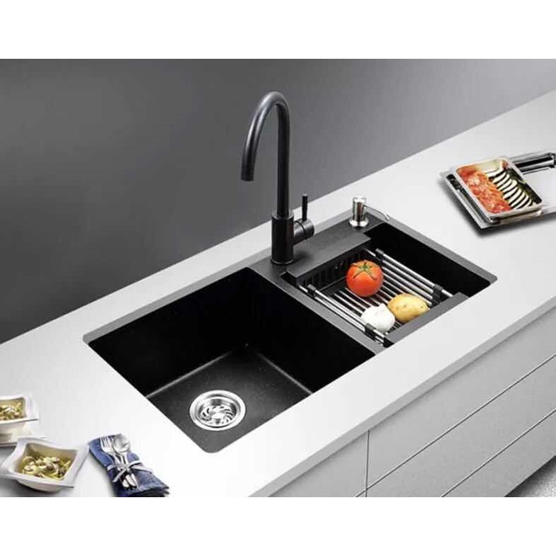Ready Stock Black Granite Double Bowl Kitchen Sink Double Basin Dual Mount