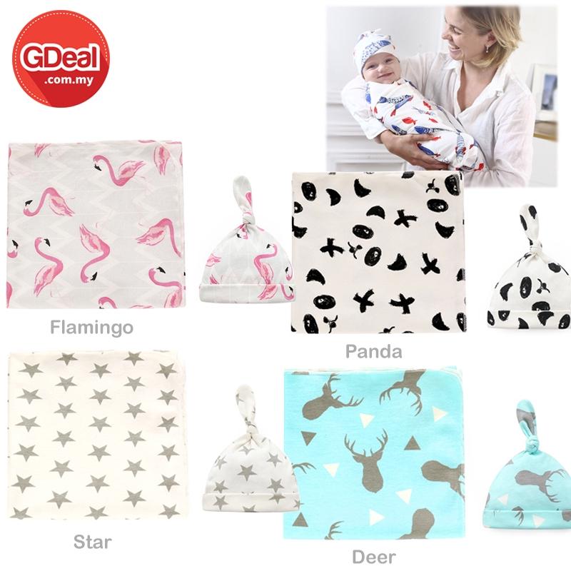 Newborn Baby Swaddle Wrap Parisarc 100% Cotton Infant Swaddling Clothes Parisarc Blanket Sleep Sack (90 x 90cm)