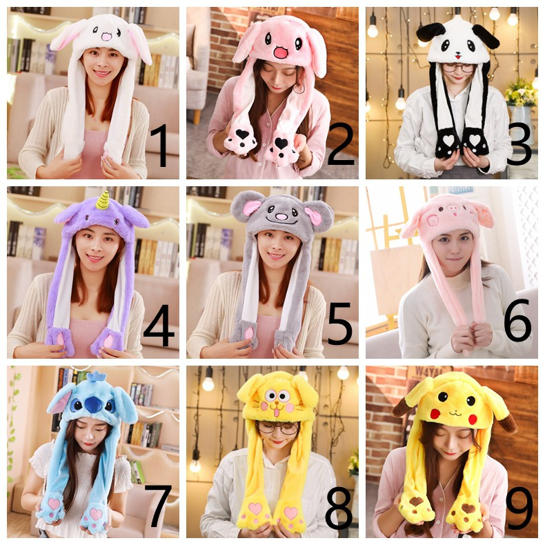 Animal Plush Hat Inflatable Balloon Hat Funny Gift Cap Moving Hat Rabbit Ears Plush Sweet Cute Airbag Cap 2 Color Can Be Choose Refreshment Welding Equipment
