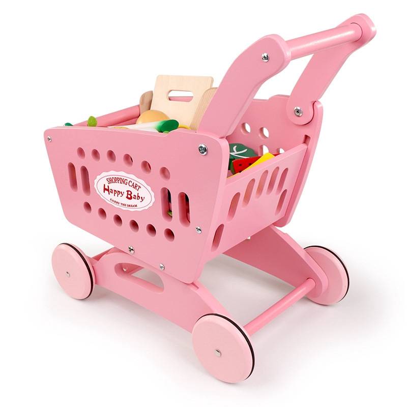Wooden Shopping Cart Toys Children Supermarket Shelves Shopping Cart