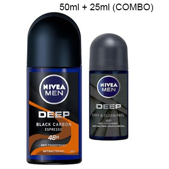 NIVEA MEN DEEP Black Charcoal Espresso / Amazonia Deodorant Roll On / Deep Dry And Clean Feel / Deep Charcoal Dark Wood