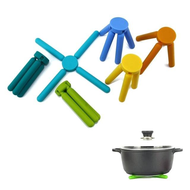 Silicone Trivets in Cute Colors Expandable Silicone Pot Holder,Yellow 3//Pack Foldable Silicone Trivets Non-Slip Collapsible Cross Compact Design