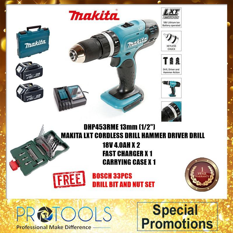 Makita DHP453SYE DHP453Z DHP453RFE 18V Cordless Hammer Driver Drill - 1  YEAR WARRANTY