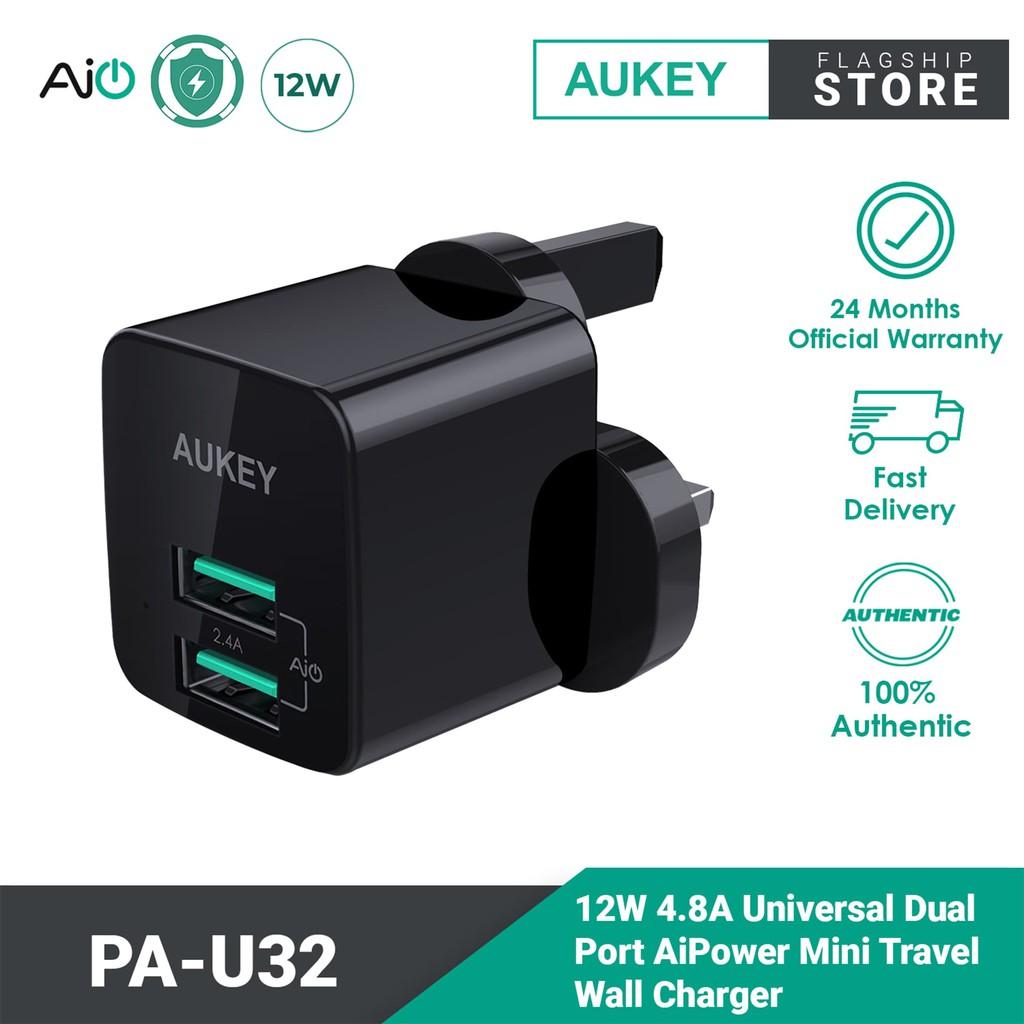 Aukey PA-U32 4.8A Universal Dual Port AiPower Mini Travel Charger (12W)