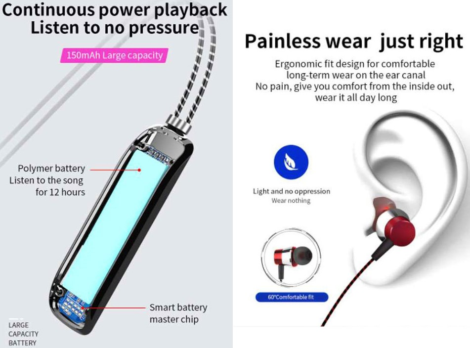 [ BRAND NEW ] Loud & Clear Easy Connect TWS True Wireless Stereo Necklace Earphones / Earbuds (Multi Colour)