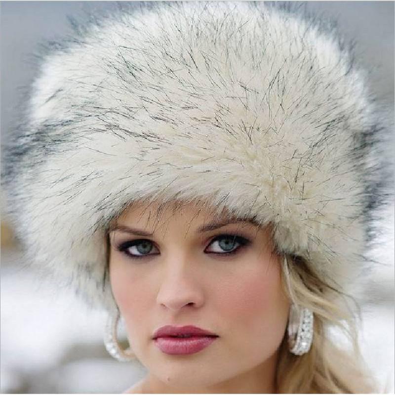 56cb4ba70 Warm Round Snow Cap Faux Fox Fur Beanie Cap Women Winter Russian Hat Ushanka