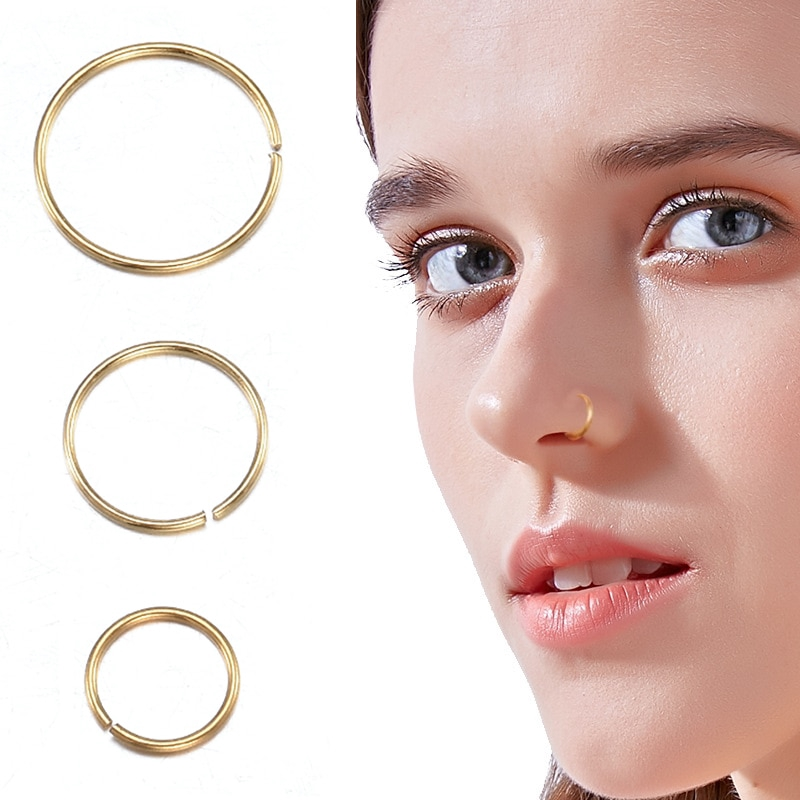 3pcs Punk Style Fake Nose Stud Stainless Steel Nose Rings Nose