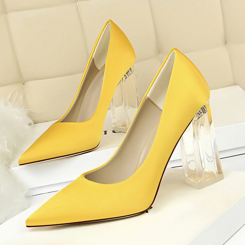 1b4bab52111 New Pointed Toe Transparent Block High Heels Stain Yellow Pumps Escarpins  Women Fall 2019 Spring Elegant Lady Office Par