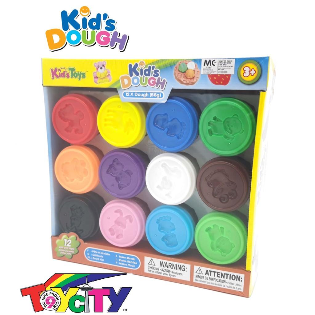 KID'S TOYS FUN PLAY KIDS DOUGH FOR KIDS 12 x 56 GRAM COLOR DOUGH PLAY SET
