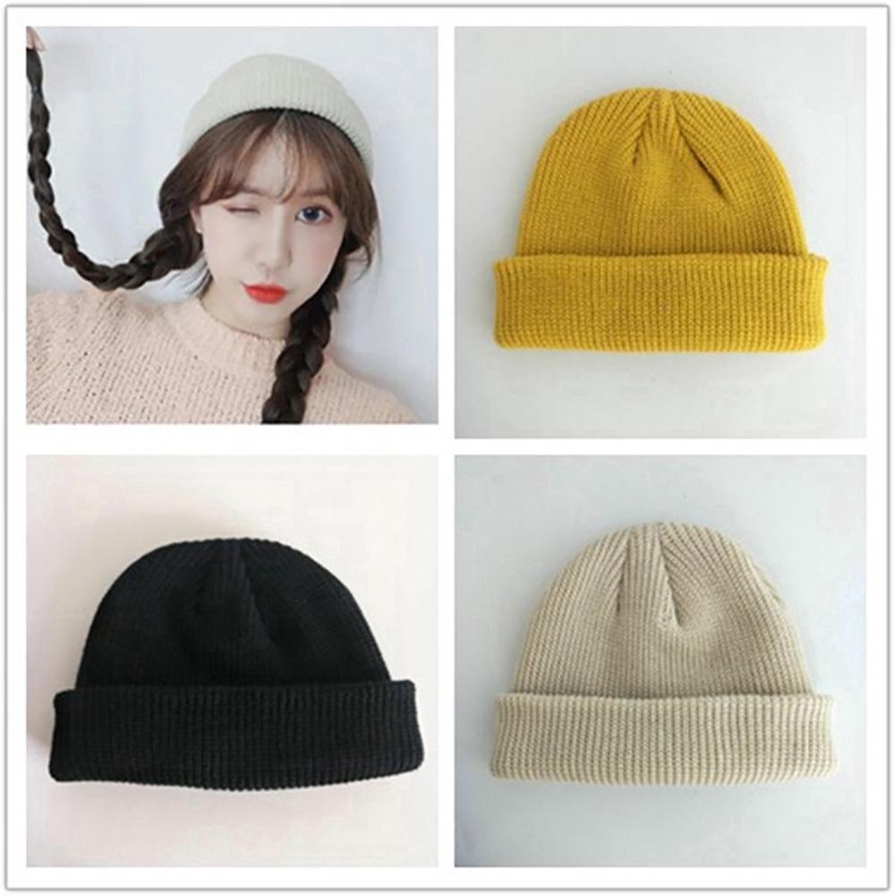 8b501334b256d Korean Fashion Unisex Knitted Hat Skullcap Sailor Cap Cuff Brimless Beanie  Hat | Shopee Malaysia